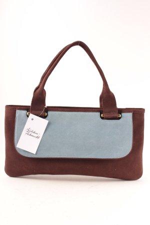 Stefanel Handtasche braun-hellblau Colourblocking minimalistischer Stil