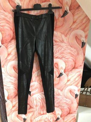 Stefanel High Fashion Leggings mit Lederdetails NEU