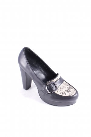 Stefanel High Heels schwarz-hellbeige Animalmuster klassischer Stil