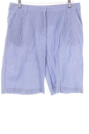 Stefanel High-Waist-Shorts stahlblau-weiß Streifenmuster Casual-Look