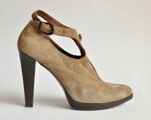 Stefanel High-Front Pumps grey brown suede