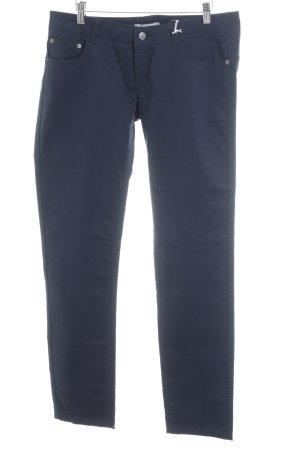 Stefanel pantalón de cintura baja azul oscuro look casual