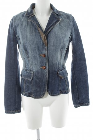 Stefanel Jeans Denim Blazer blue-natural white retro look