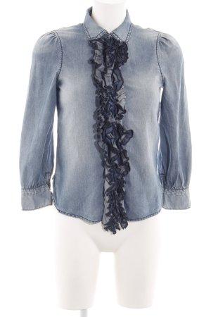 Stefanel Jeans Camicetta con arricciature blu stile casual