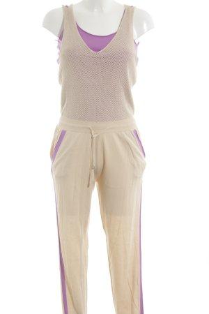 Stefanel Jumpsuit creme-lila Casual-Look