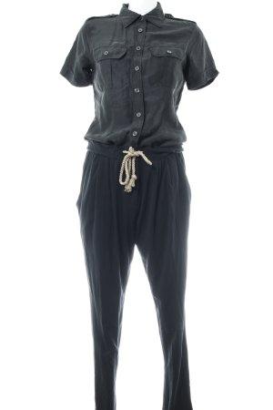 Stefanel Jumpsuit schwarz-creme schlichter Stil