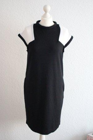 Stefanel Kleid Etuikleid schwarz-weiß Stretch Taschen midi