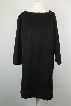 Stefanel Kleid Langarm-Kleid Gr. 36 schwarz oversized verstellbarer Carmen-Ausschnitt