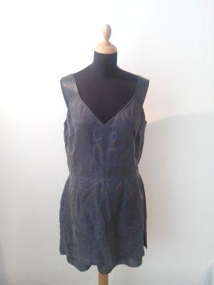 stefanel Kleid Reißverschluß matt glänzend dunkelblau navy edel Luxus Designer