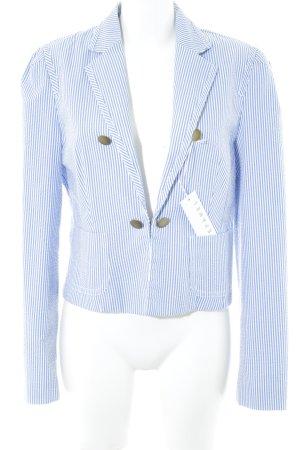 Stefanel Kurz-Blazer neonblau-weiß Streifenmuster Business-Look