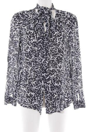 Stefanel Langarm-Bluse schwarz-weiß Allover-Druck Casual-Look