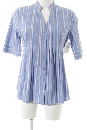 Stefanel Langarm-Bluse weiß-blau Casual-Look
