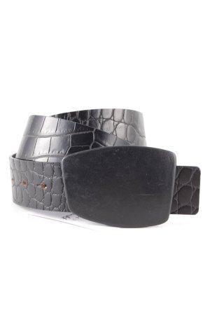 Stefanel Leather Belt black animal pattern reptile print