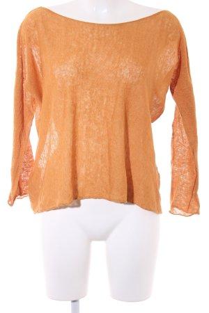 Stefanel Blouse en lin orange doré Motif de tissage style décontracté