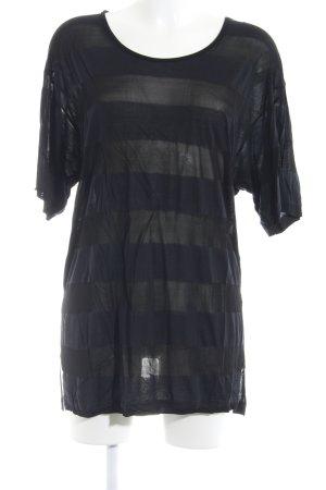 Stefanel Longshirt schwarz-anthrazit Streifenmuster schlichter Stil