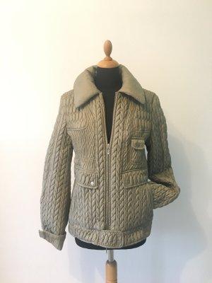 Stefanel Luxus Italy edel Winter warm leicht Steppjacke Grau beige greige Kitt Designer