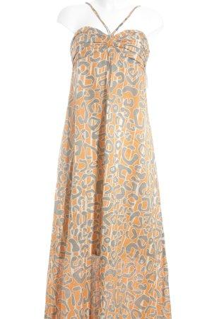Stefanel Maxikleid orange-grau abstraktes Muster Beach-Look
