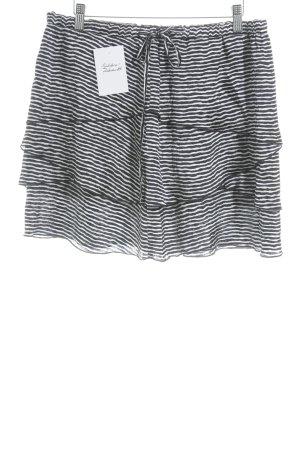 Stefanel Midirock dunkelblau-weiß Streifenmuster Casual-Look