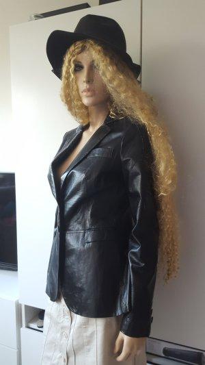 Stefanel NEU Leder Luxus Designer Blazer Jacke schwarz Gr.S 36/38 S/M,
