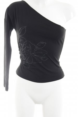 Stefanel Camisa de un solo hombro negro estampado floral estilo sencillo