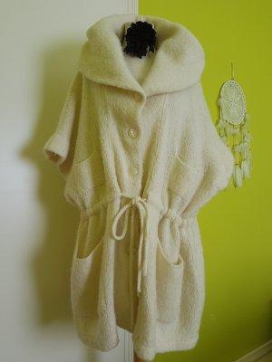 Stefanel Abrigo de punto blanco puro tejido mezclado