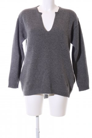 Stefanel Oversized Pullover hellgrau meliert Casual-Look