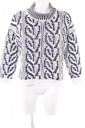 Stefanel Oversized Sweater white-black abstract pattern casual look