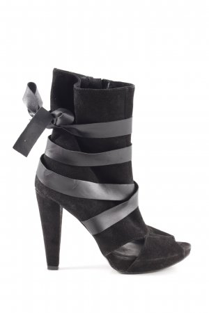 Stefanel Peep Toe Booties black striped pattern elegant