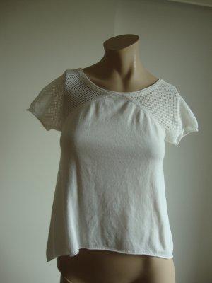Stefanel Sweater met korte mouwen wit Katoen