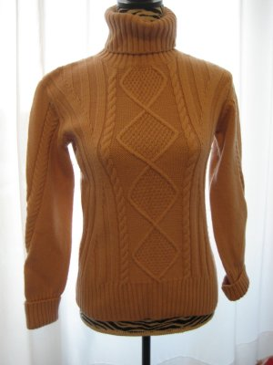 Stefanel Pullover Rautenmuster / Zopfmuster - Wolle - nude