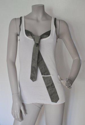 Stefanel Ripp Top mit Krawatte Baumwolle Polyester weiß grau Gr. M