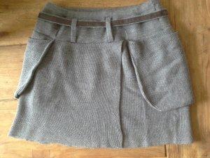 Stefanel Rock Wolle grau mit Gürtel