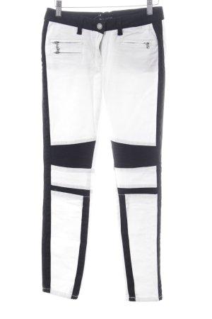 Stefanel Röhrenhose schwarz-weiß grafisches Muster extravaganter Stil