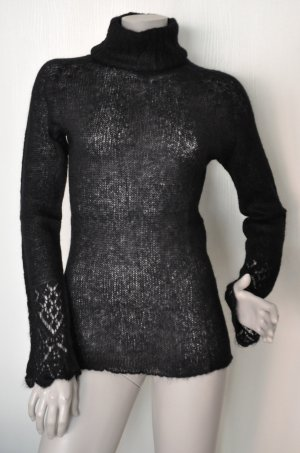Stefanel Rollkragen Pullover Rolli mit Mohair und Wolle schwarz transparent Gr. M QUASI WIE NEU