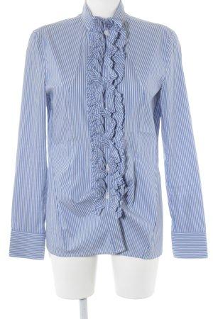 Stefanel Ruche blouse korenblauw-wit gestreept patroon elegant