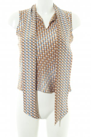 Stefanel Blusa con lazo estampado con diseño abstracto Estilo años 60