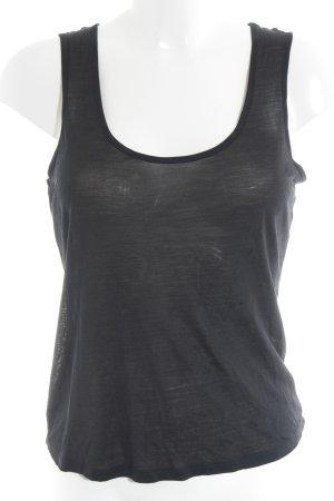 Stefanel Top de seda negro estilo minimalista