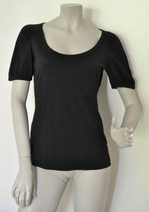 Stefanel Shirt mit raffinierten Faltenlegungen Supima Baumwolle schwarz Gr. M -  WIE NEU