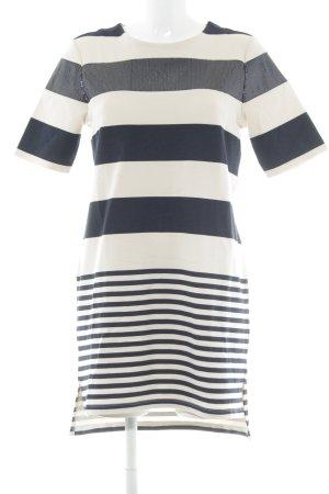 Stefanel Robe t-shirt crème-bleu foncé motif rayé style décontracté