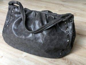 Stefanel Shopper Ledertasche Grau mit silbernen Nieten XXL
