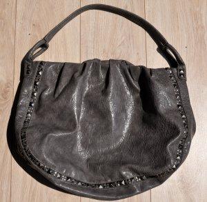 STEFANEL SHOPPER Ledertasche Grau mit silbernen Nieten XXL Tasche