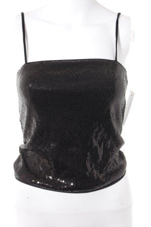 Stefanel Haut à fines bretelles noir style festif