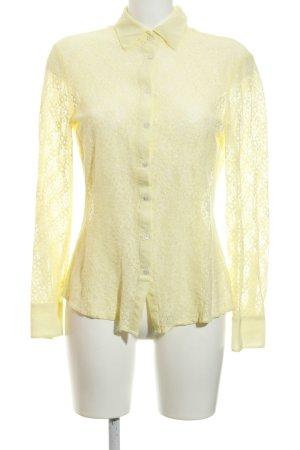 Stefanel Kanten blouse lichtgeel bloemen patroon Materiaalmix-look