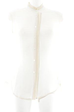 Stefanel Stand-Up Collar Blouse cream-oatmeal elegant