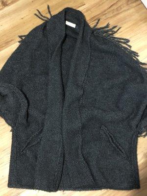 Stefanel Coarse Knitted Jacket grey-dark grey mixture fibre