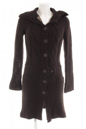 Stefanel Knitted Coat brown-black brown cable stitch classic style