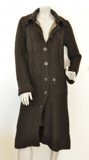 Stefanel Knitted Coat dark brown mixture fibre