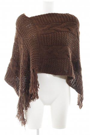 Stefanel Strickponcho braun Zopfmuster Casual-Look