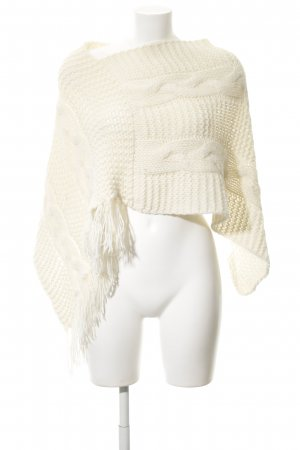 Stefanel Strickponcho hellgelb Zopfmuster Casual-Look