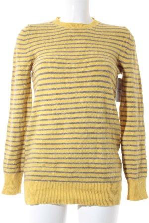 Stefanel Strickpullover gelb-graubraun Streifenmuster Casual-Look